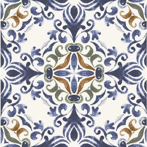 Faïence brillante à décors multiples style azulejos GALINA BLEU 25X25 - 0,63 m²