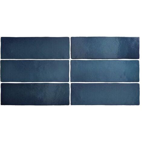 Faience dénuancée bleu marine 6.5x20 cm MAGMA SEA BLUE 24964 - 0.5m²