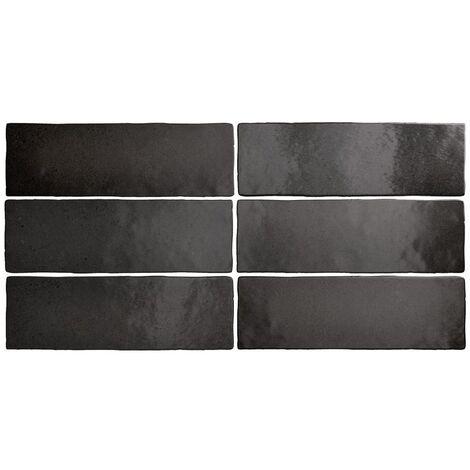 Faience dénuancée noir 6.5x20 cm MAGMA BLACK COAL 24962 - 0.5m²
