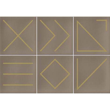 Faïence géométrique beige/doré 23x33.5 NAGANO NUEZ - 1m²
