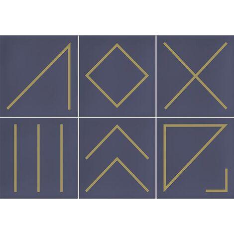 Faïence géométrique bleu marine/doré 23x33.5 cm NAGANO INDIGO- 1m²