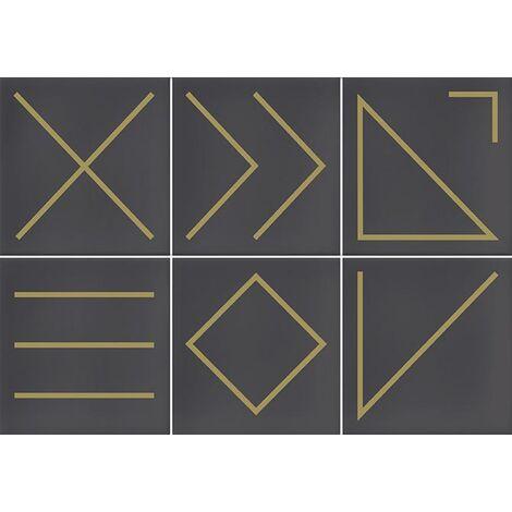 Faïence géométrique marron/doré 23x33.5 cm NAGANO MARENGO- 1m²