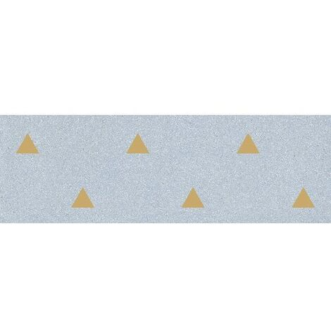 Faience murale bleue motif triangle or 32x99cm BARDOT-R Azul - 1