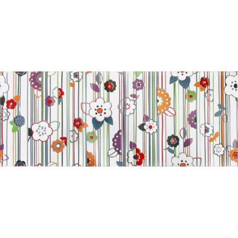 Faience murale colorée décor fleuri 20x50cm RON 1m²