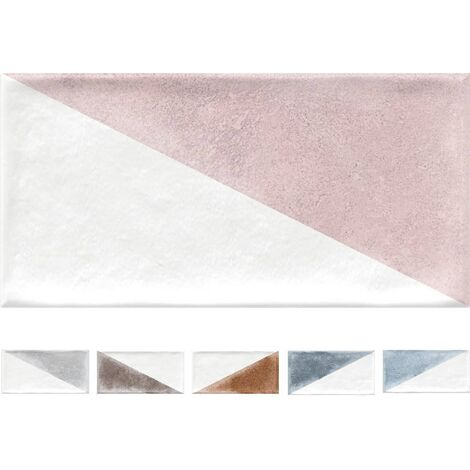 Faience murale coloree patinee triangles pastels RABARI 10x20cm - 1.36m²
