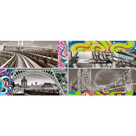 Faience murale enfant style graffiti ZOCLO BLOQUE 20x50cm - 4 unites