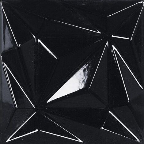 Faïence noire brillante à relief 3D ELOYA VITTA COAL 15X15 - 0,63 m²