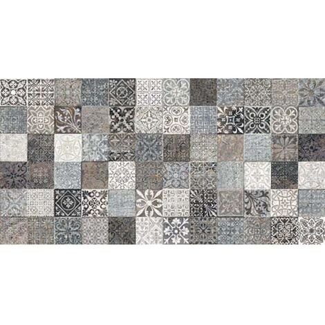 """main image of """"Faience style ciment mosaique gris décoré Deco Lys Grey 32x62.5 cm - 1m²"""""""
