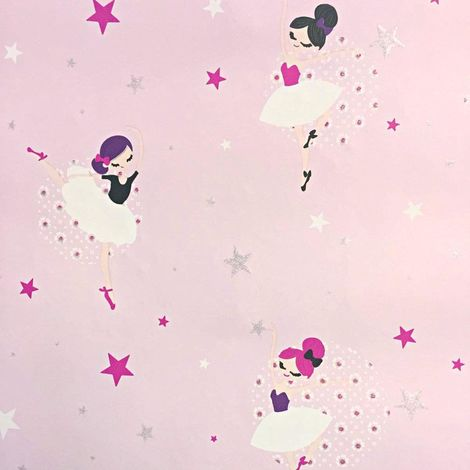 Fairies Wallpaper Stars Flowers Glitter Effect Pink Direct Wallpapers