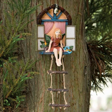 """main image of """"Fairy House with Ladder Hanging Tree Sculpture - Outdoor Tree Statue - Whimsical Hand Painted Polyresin Garden Decoration"""""""