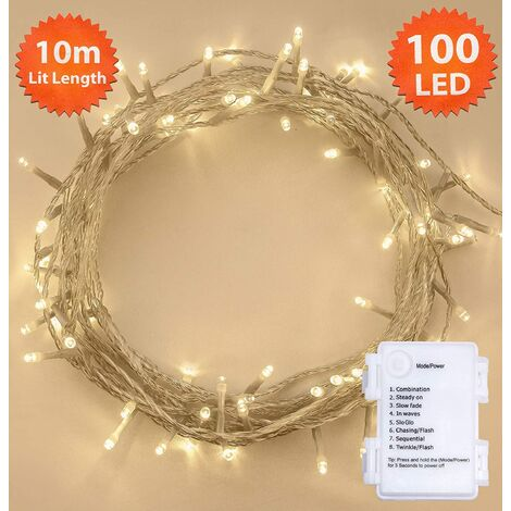 huge selection of 49364 447c1 Fairy Lights 100 LED 10m Warm White Battery Operated Tree ...