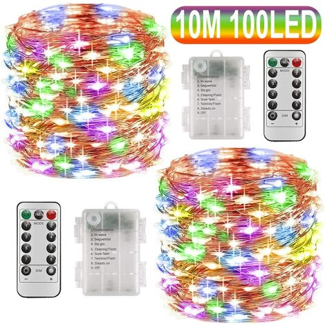 Fairy Lights Battery Operated, 10M 100 LEDs 8 Modes Copper Wire String Lights with Remote Control and Timer, Waterproof Firefly Lights for Christmas Garden Wedding Decoration, 2 Pack (Multi-Color)