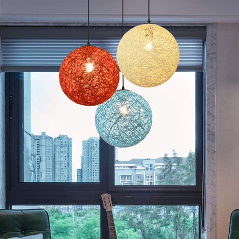 Fairy tale Idyllic Country Pendant Light Colorful Rattan Weave Chandelier Modern Spherical Ceiling Lamp for Bedroom Cafe Loft Purple 20CM