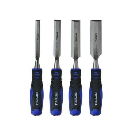 FAITHFULL 4 Piece Soft Grip Chisel Set Steel Caps FAIWCSGS4W XMS18SGCHIS4
