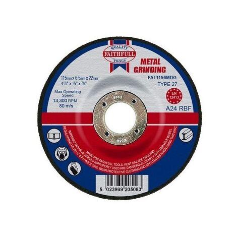 Faithfull FAI1156MDG Grinding Disc for Metal Depressed Centre 115 x 6.5 x 22mm