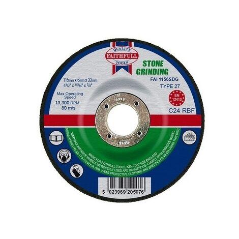 Faithfull FAI1156SDG Grinding Disc for Stone Depressed Centre 115 x 6 x 22mm