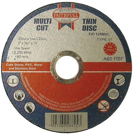 Faithfull FAI12510MUL Multi-Purpose Cutting Disc 125 x 1.0 x 22.23mm (Pack of 10)