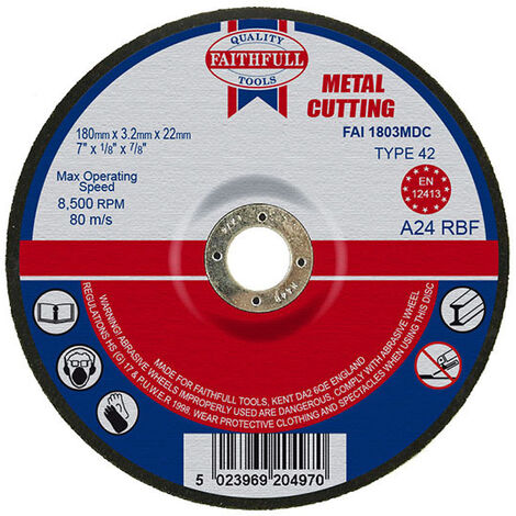 Faithfull FAI1803MDC Depressed Centre Metal Cutting Disc 180 x 3.2 x 22.23mm