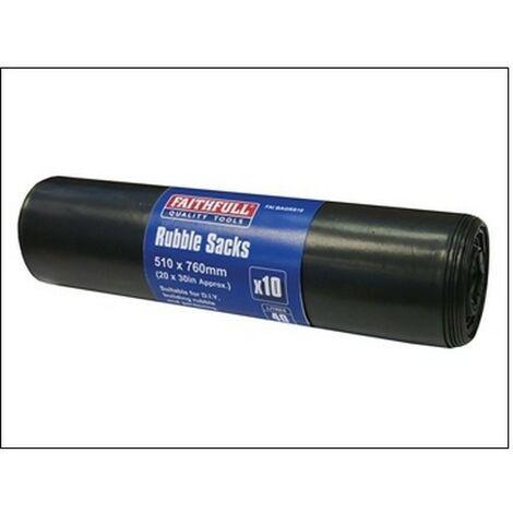 Faithfull FAIBAGRS10 Black Rubble Sacks Pack of 10