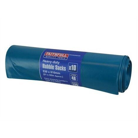 Faithfull FAIBAGRS10H Blue Heavy-Duty Rubble Sacks Pack of 10