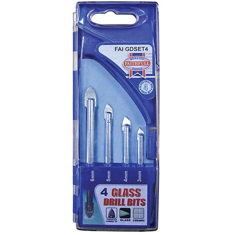 Faithfull FAIGDSET4 Tile & Glass Drill Bit Set of 4 (3-6mm)