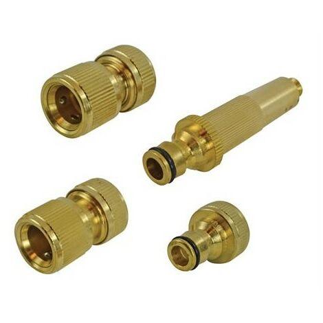 Faithfull FAIHOSESET4 Brass Nozzle & FittingsKit 4 Piece 12.5mm (1/2in)