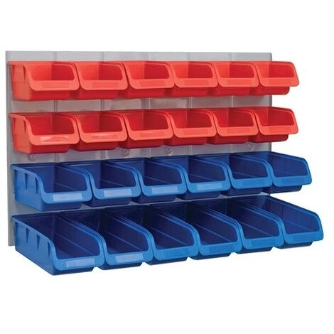 Faithfull FAIPAN24 24 Plastic Storage Bins with Metal Wall Panel