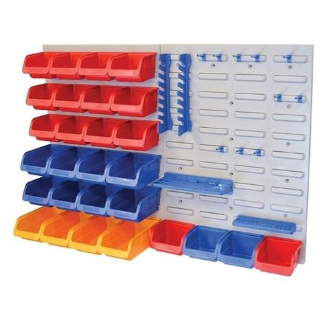 Faithfull FAIPAN43 Storage Bin Set with Wall Panels 43-Piece