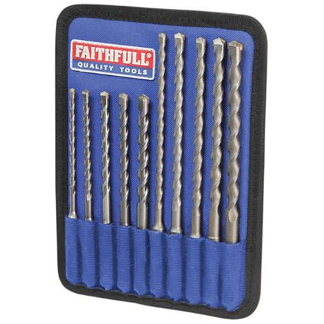 Faithfull FAISDSSET10 SDS Plus Drill Bit Set 10 Piece