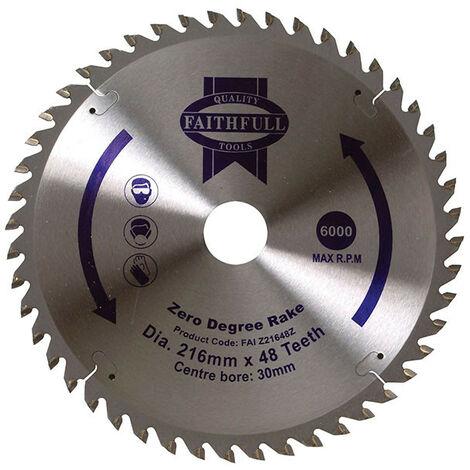Faithfull FAIZ21648Z TCT Circular Saw Blade Zero Degree 216 x 30mm 48T