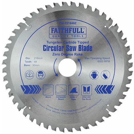 Faithfull FAIZ21648Z TCT Circular Saw Blade Zero Degree 216 x 30mm x 48T