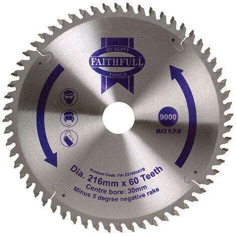 Faithfull FAIZ21660ATB TCT Cross Cut Mitre Saw Blade 216 x 30mm 60T