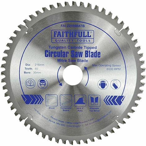 Faithfull FAIZ21660ATB TCT Cross Cut Mitre Saw Blade 216 x 30mm x 60T NEG