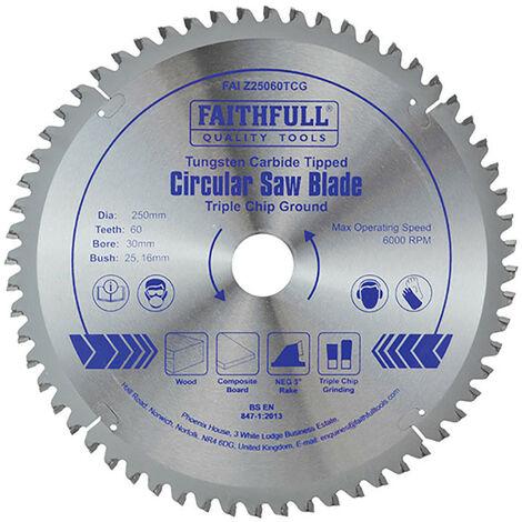 Faithfull FAIZ25060TCG TCT Circular Saw Blade Triple Chip Ground 250 x 30mm x 60T NEG