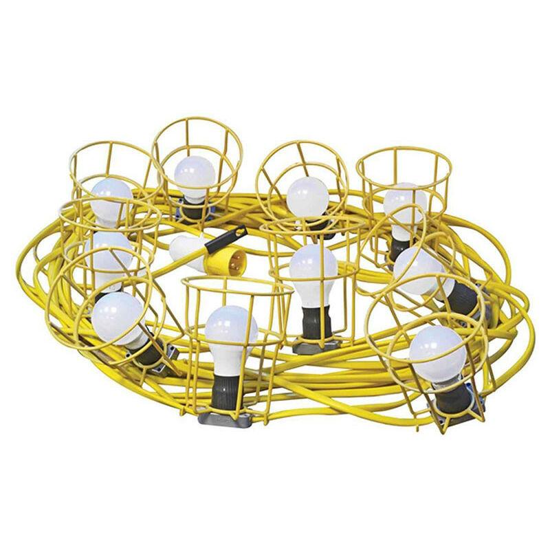 Image of Plus FPPSLFESTLED Festoon Lights Low Energy 10 LED Bulbs 110V 22m - Faithfull Power