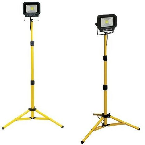 Faithfull FPPSLLED20TL 110v LED Sitelight Torches 1400 Lumen 20 Watt + Tripod x2
