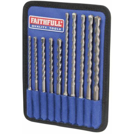Faithfull SDS Plus Drill Bit Set, 10 Piece