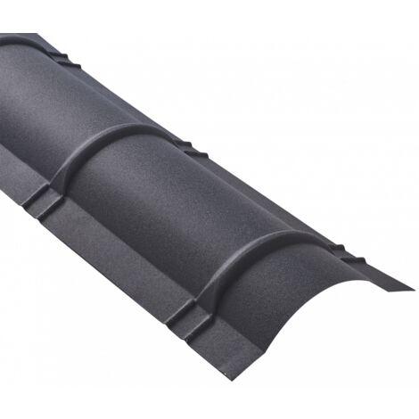 Faîtière demi-cercle pour toiture acier galvanisé laqué mat aspect tuile L 2,1 m
