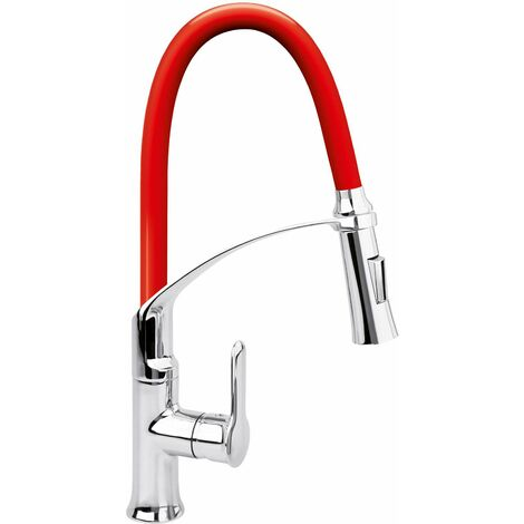 FALA Profi Einhebel-Küchenarmatur flexibel rot 75677