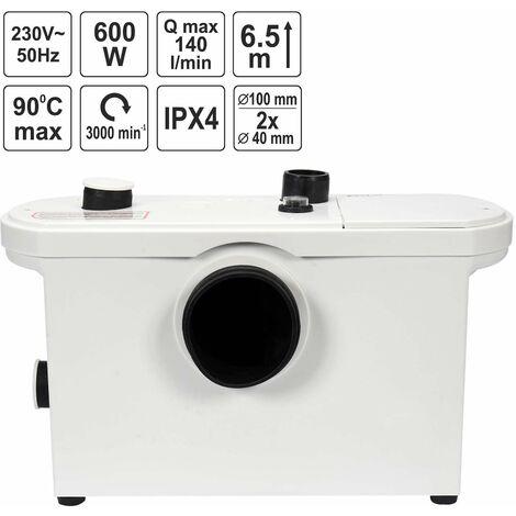 FALA WC-Hebeanlage 600 Watt Kleinhebeanlage für WC, Dusche, Waschbecken Fäkalienpumpe Haushaltspumpe