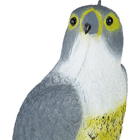 Falco Spaventapasseri, Seduto, da Poggiare o Appendere, Figura Deco, da Giardino, Balcone, Terrazzo, Grigio