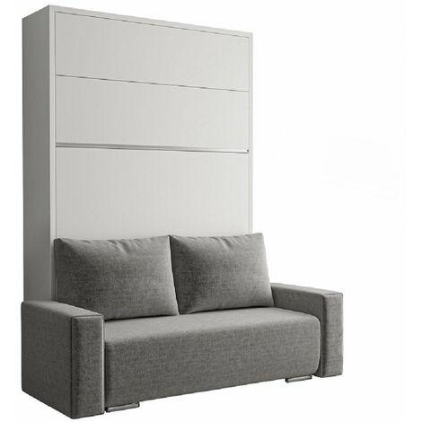 FALCON SOFA lit escamotable façade blanc brillant canapé gris et rangements intégré 140*200 cm - gris