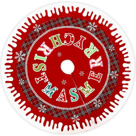 Falda de árbol de Navidad roja, felpa de nieve, tapete de decoración de árbol de Navidad con 6 bolas de nieve blancas y 3 lindos lazos ...