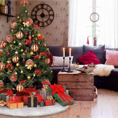Falda de felpa para árbol de Navidad, cubierta de pie de abeto de piel sintética blanca como la nieve de 90 cm para decoraciones navideñas