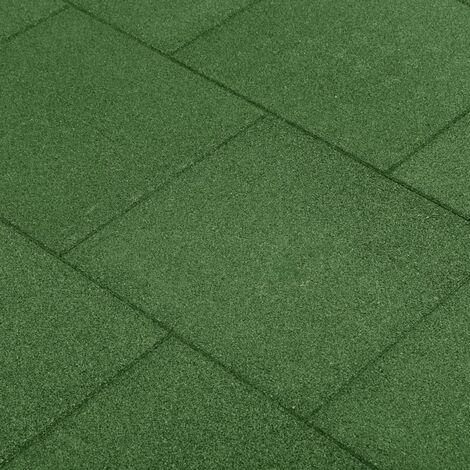 Fall Protection Tiles 12 pcs Rubber 50x50x3 cm Green