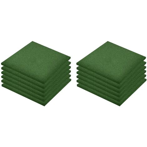 Fall Protection Tiles 12 pcs Rubber 50x50x3 cm Green