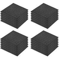 Fall Protection Tiles 24 pcs Rubber 50x50x3 cm Black