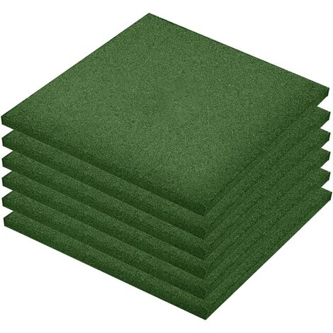 Fall Protection Tiles 6 pcs Rubber 50x50x3 cm Green