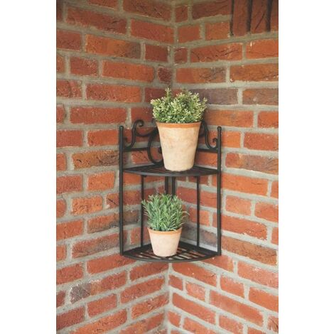 Fallen Fruits Corner Shelf Wall Etagere Plant Flower Pot Stand Metal Folding
