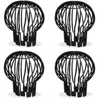 Fallrohrschutz, 4er Set, Kunststoff Korb, Laub Rinnensieb, Regenrohrschutz, Dachrinnenschutz, Ø 13 cm, schwarz